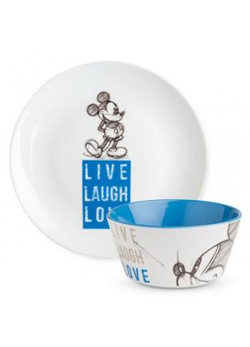 Set Piatto dolce e Bowl Mickey Blu PWMSETLL/3 Live Laugh Love Egan