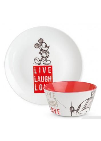 Set Piatto dolce e Bowl Mickey Rosso PWMSETLL/2 Live Laugh Love Egan