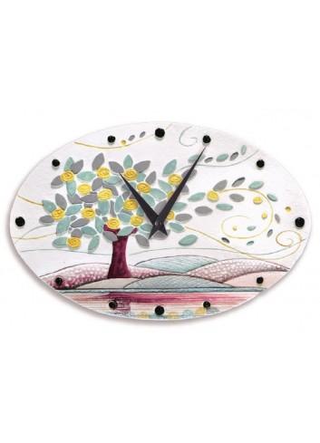 Orologio ovale Foglie al vento Giallo 50 x 50 cm 43548GI Cartapietra