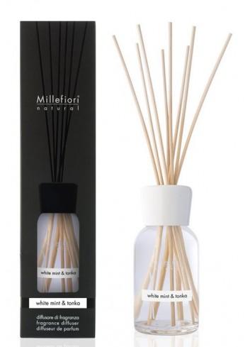 Diffusore di fragranza a bastoncini White Mint & Tonka 7MDWT-7DDWT-7DIWT Natural Millefiori Milano