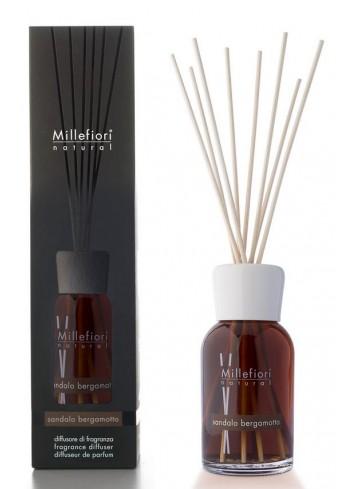 Diffusore di fragranza a bastoncini Sandalo e Bergamotto 7MDSB-7DDSB-7DISB Natural Millefiori Milano