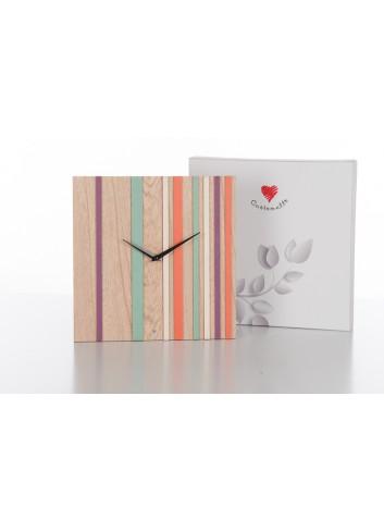 Orologio quadrato in legno con righe colorate 30 x 30 cm D5459 Cuoregaio Farfalla