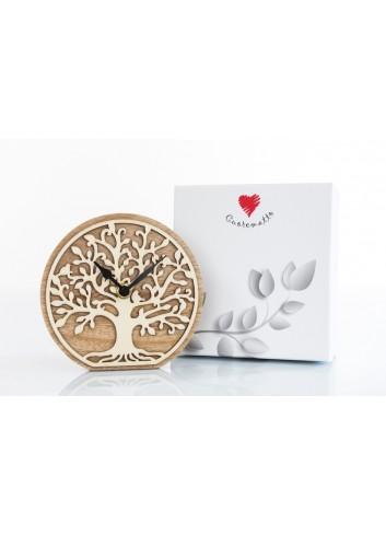 Orologio in legno tondo con decoro albero della vita 15 x 14 cm D6215 Cuoregaio Cuorematto