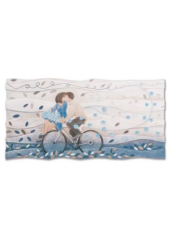 Quadro Vieni via con me Blu zaffiro 90 x 45 cm 110978bz Cartapietra