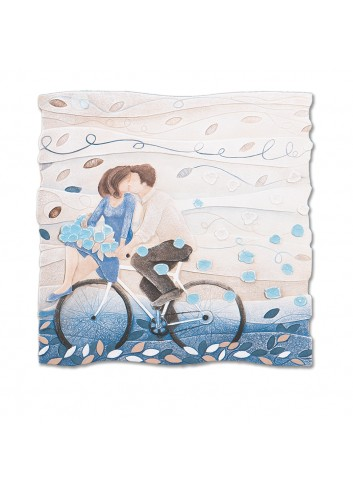 Formella Vieni via con me Blu zaffiro 50 x 50 cm 110578bz Cartapietra
