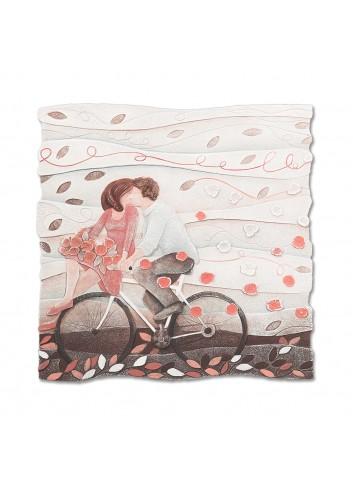 Formella Vieni via con me Rosa corallo 50 x 50 cm 110578rc Cartapietra