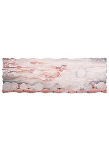 Quadro Sogno Rosa corallo 150 x 50 cm 111577rc Cartapietra