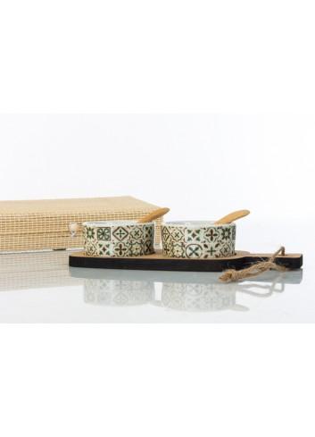 Antipastiera due ciotoline in ceramica con base e forchettine in legno 4 x 9 x 23 cm D6206 Cuordamalfi Cuorematto