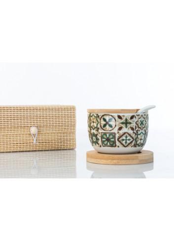 Zuccheriera in ceramica decorata, con cucchiaino bianco, base e coperchio in legno 6,5 cm H. D6209 Cuordamalfi Cuorematto