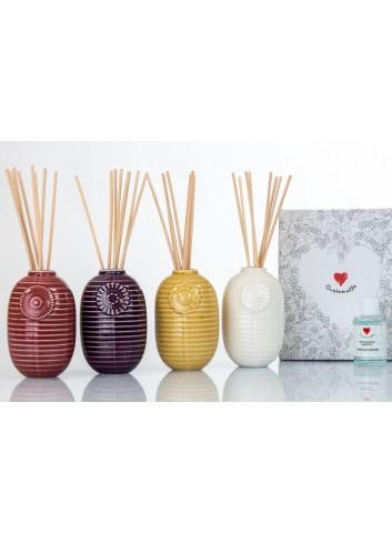 Profumatore in ceramica lucida con fregio 4 colori assortiti Linea Sun Ø 7 cm D6243 Cuor d'Oriente Cuorematto
