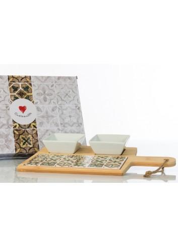 Antipastiera in legno con inserto in ceramica decorata dotata di due ciotoline  D6208 Cuordamalfi Cuorematto