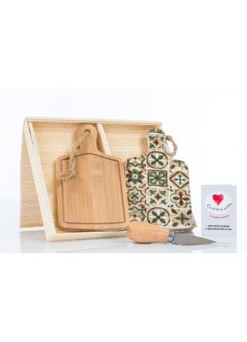 Set due taglieri uno in legno uno in ceramica decorata con coltellino 19 x 10 cm D6204 Cuordamalfi Cuorematto