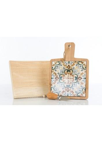 Tagliere in legno con interno in ceramica decorata con coltellino D6203 Cuordamalfi Cuorematto