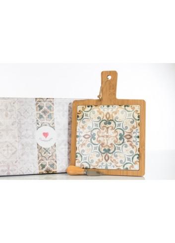 Tagliere in legno con interno in ceramica decorata con coltellino 33 x 24 cm D6202 Cuordamalfi Cuorematto