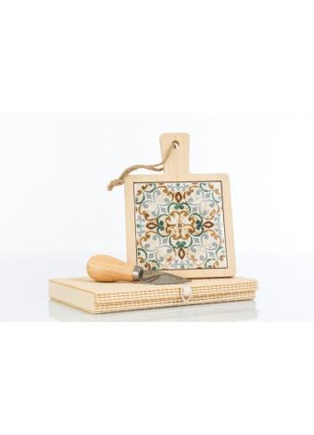 Tagliere in legno con interno in ceramica decorata 12 x 17 cm D6201 Cuordamalfi Cuorematto