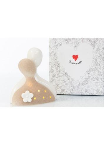 Coppia Sposi in bisquit due colori e Luce Led 13,5 x 8,7 cm D6226 Cuor per Sempre Cuorematto