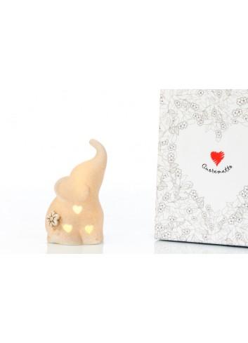 Elefantino Porta Anelli in bisquit con Luce Led 6 x 5 x 11 cm D6232 Cuor per Sempre Cuorematto