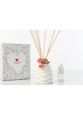 Profumatore Sablè con fiore rosa e midollini 7 x 7 x 10 cm D6277 Simply White Cuorematto