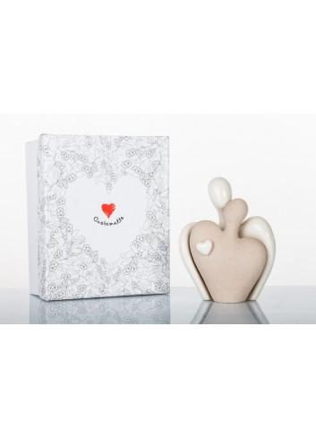 Coppia innamorati bicolore in ceramica bisquit e lucida 10 x6 x 12 cm D5855 Simply White Cuorematto