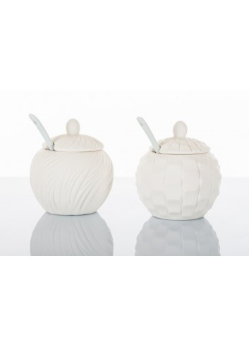 Zuccheriera grande 2 decorazioni assortite D5607 Simply White Cuorematto