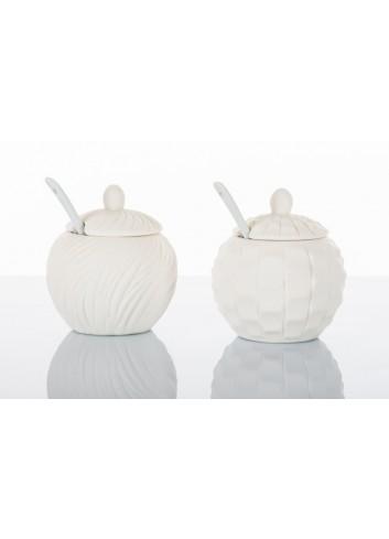 Zuccheriera piccola in ceramica 2 modelli assortiti Ø 10,5 cm D5607 Simply White Cuorematto