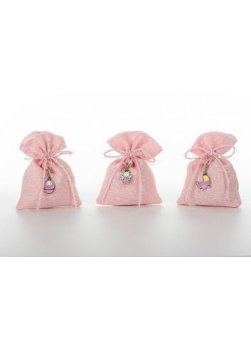 Sacchettino charms rosa 3 modelli assortiti 8 x 10 cm D6334 Cuorematto