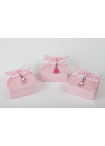 Scatolina portaconfetti plex charms rosa 3 modelli assortiti 6 x 6 x 3 cm D6332 Cuorematto