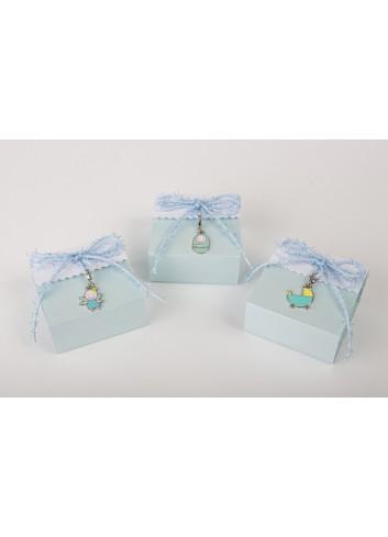 Scatolina portaconfetti plex charms celeste 3 modelli assortiti 6 x 6 x 3 cm D6331 Cuorematto