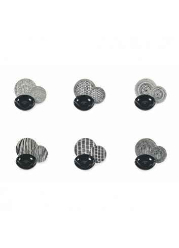 Servizio Tavola Masai Black 18 pezzi in porcellana e gres 2190619 Villa D'este Home Tivoli