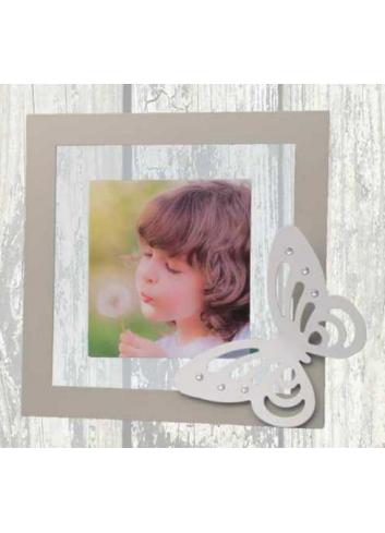 Portafoto in metallo e plexiglass con applicazione Farfalla in metallo + strass NNA-01-1-2-3 Serie Arianna Negò