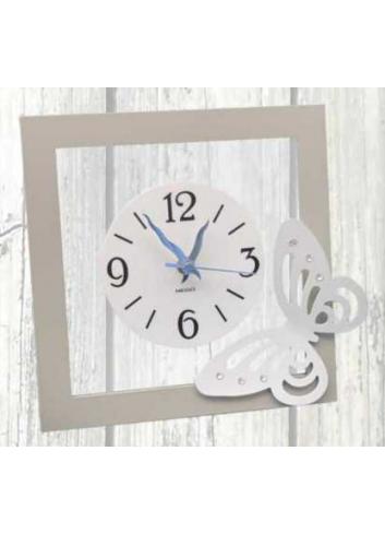 Orologio in metallo e plexiglass con applicazione Farfalla in metallo + strass NNA-03-08-06 Serie Arianna Negò