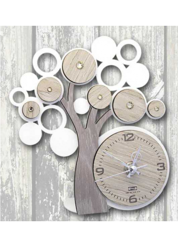 Metal and wood Tree of life Clock + strass LFE-03-06 Life 2020 Series Negò
