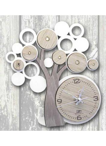 Metal and wood Tree of life Clock + strass LFE-03-06 Life 2020 Series Negò