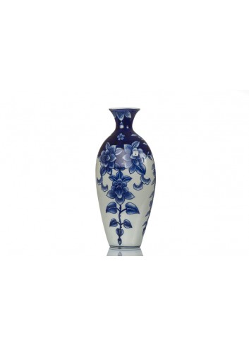 Vase BluChina with flowers decoration 19 x 10 x 40 cm A7769 Kharma Living