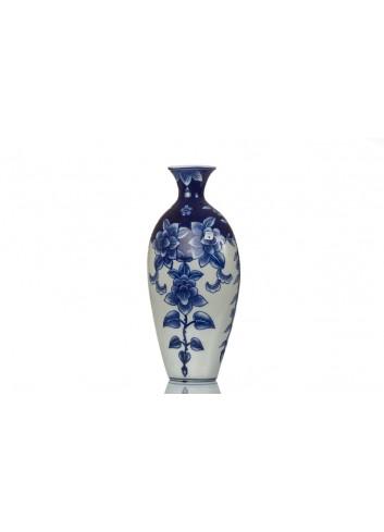 Vaso BluChina con decoro fiori 19 x 10 x 40 cm A7769 Kharma Living