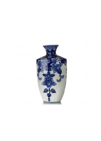 Vaso BluChina con decoro fiori 18 x 10 x 32 cm A7768 Kharma Living