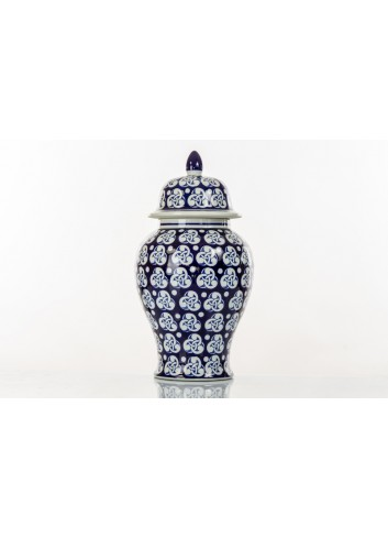 Decorated vase BluChina with cover 60 cm h. A7754 Kharma Living