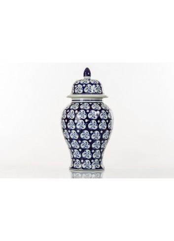 Vaso decorato BluChina con coperchio 60 cm h. A7754 Kharma Living