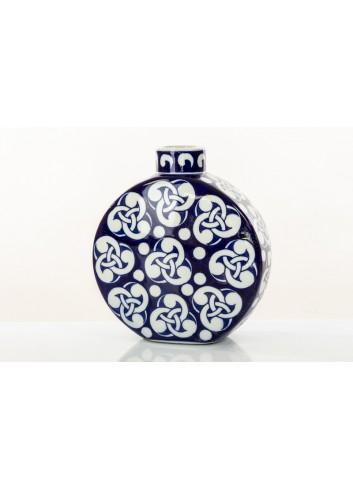 Vaso tondo con decori BluChina 22 cm h. A7753 Kharma Living