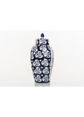 Decorated Vase with cover BluChina 36 cm h. A7748 Kharma Living