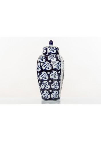 Vaso decorato con coperchio BluChina 36 cm h. A7748 Kharma Living