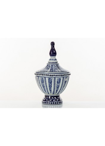 Decorated Vase with cover BluChina A7746 Kharma Living