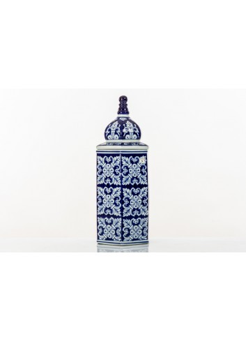 Decorated Vase with cover BluChina A7744 Kharma Living