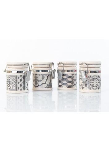 Decorated Jar Candy Holder 4 assorted types Ø 5,5 x 7,5 h. cm A7796 Kharma Living