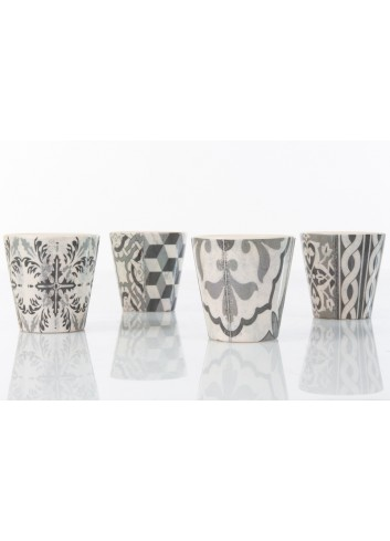 Decorated Seelding Holder Jar 4 assorted types Ø 7 x 6,8 h. cm A7795 Kharma Living