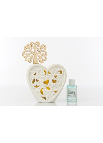 Ceramic Home Fragrance Heart shape with Led light and wood Tree 11,5 x 4 x 13 cm A7787 Kharma Living