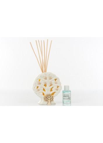 Profumatore con Luce Led in ceramica forma Albero con applicazione Albero della Vita in legno 12 x 5 x 12 cm A7785 Kharma Living