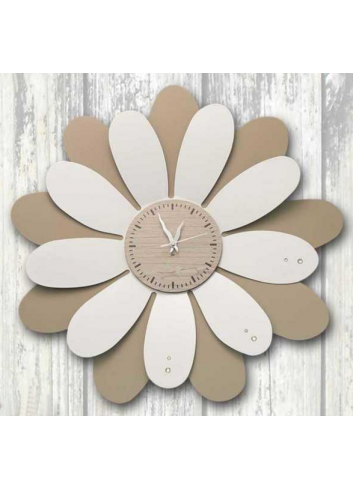 Marguerite wall clock in white and taupe metal with strass Ø 49 cm MRG-49 Series Margherite Negò