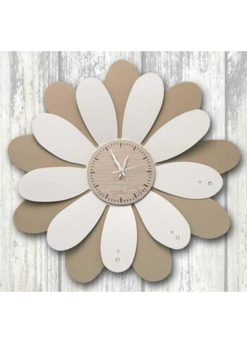 Orologio da parete Margherita in metallo bianco e tortora con strass Ø 49 cm MRG-49 Serie Margherite Negò