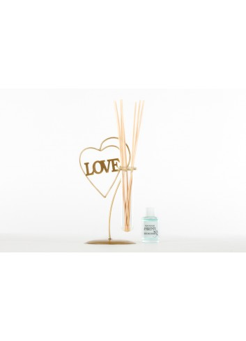 Glass Home Fragrance - Flower Vase with metal Heart Love 12 x 10 x 20 cm E3491 Kharma Living